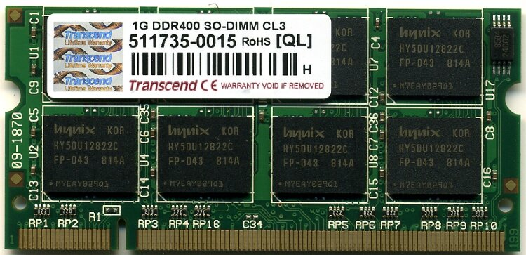 Оперативная память 1GB DDR PC3200 SO-DIMM CL3 Transcend-TS128MSD64V4A