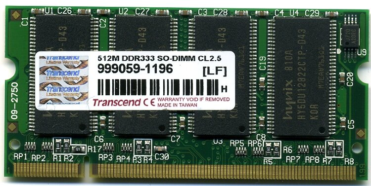 Оперативная память 512MB DDR PC2700 SO-DIMM CL2.5 Transcend TS64MSD64V3M